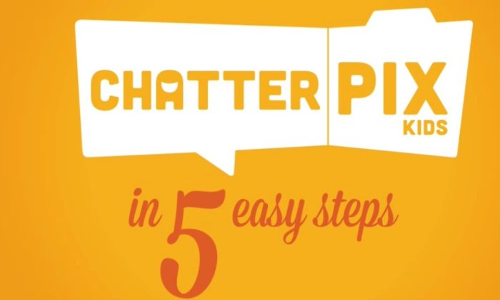 image of 5 steps to a video in ChatterPix Kids