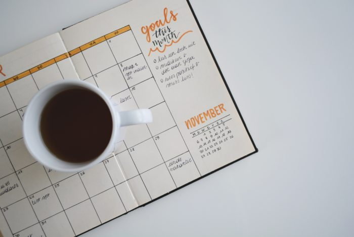 goalsetting page with coffee cup